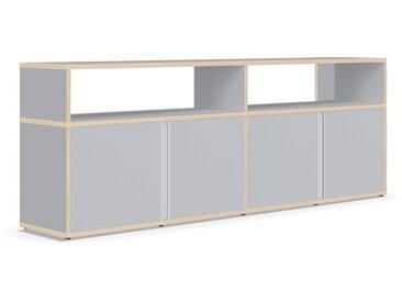 Sideboard mit Türen und Schubladen. Aus Multiplexplatte. In Grau.