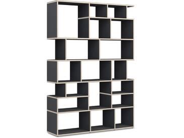 Individualisierbare Bücherwand aus Massivholz in Schwarz. Moderne