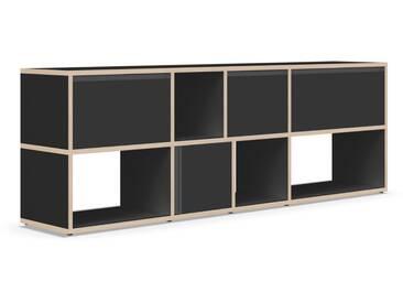 Sideboard mit Türen und Schubladen. Aus Multiplexplatte. Schwarz.