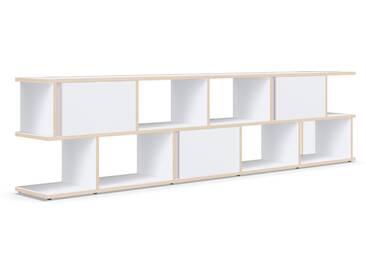 Sideboard mit Türen und Schubladen. Aus Multiplexplatte. In Weiß.