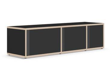Individualisierbares Sideboard aus Massivholz in Schwarz. Moderne