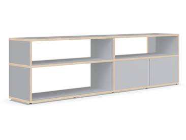 Individualisierbares Sideboard aus Massivholz in Grau. Moderne