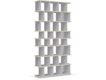 Individualisierbares Bücherregal aus Massivholz in Grau. Moderne