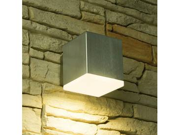 LED Wandstrahler, 1-Flammig, Außenleuchte, Außenlampe, Edelstahl, IP44, 230V, Warmweiß, (Form:W18)
