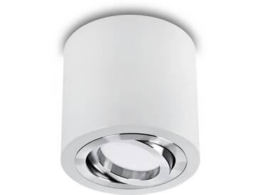 LED Aufbaustrahler aufputz schwenkbar rund Aluminium weiß GU10-230V #WF9