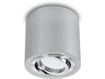 LED Aufbaustrahler aufputz schwenkbar rund Aluminium gebürstet GU10-230V #WF10