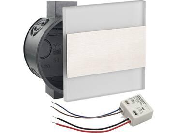 LED Set Wandeinbaustrahler kaltweiß flach Satinglas quadratisch inkl. Unterputzdose und Trafo für 230V WB8