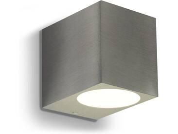 LED Wandleuchte, Wandlampe, Außenleuchte, Aluminium, 1-Flammig, Edelstahl geb., GU10-230V, (Form:J)