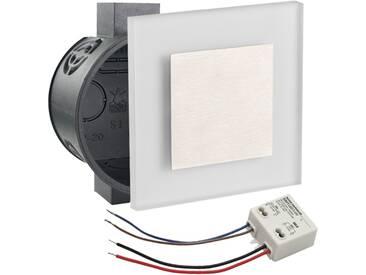 LED Set Wandeinbaustrahler warmweiß flach Satinglas quadratisch inkl. Unterputzdose und Trafo für 230V WB1