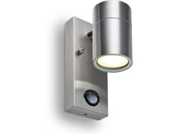 LED Wandleuchte ROM, m. Bewegungsmelder und Dämmerungssensor, Außenleuchte, 1-Flammig, Edelstahl, GU10-230V, (Form:F2)