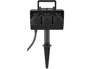 Energieverteiler 3-fach Außensteckdose mit Erdspieß 1,5m Kabel inkl. Stecker IP44 230V EV4