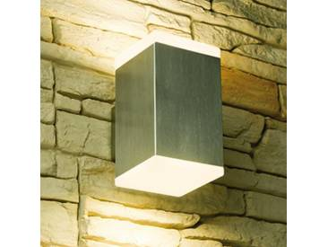 LED Wandstrahler, 2-Flammig, Außenleuchte, Außenlampe, Edelstahl, IP44, 230V, Warmweiß, (Form:W19)