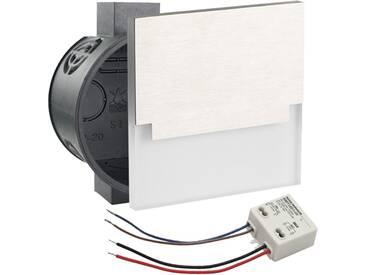 LED Set Wandeinbaustrahler kaltweiß flach Satinglas quadratisch inkl. Unterputzdose und Trafo für 230V WB4