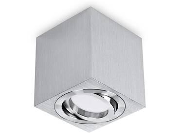 LED Aufbaustrahler aufputz schwenkbar quadratisch Aluminium gebürstet GU10-230V #WF1
