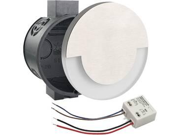 LED Set Wandeinbaustrahler warmweiß flach Satinglas rund inkl. Unterputzdose und Trafo für 230V WB5