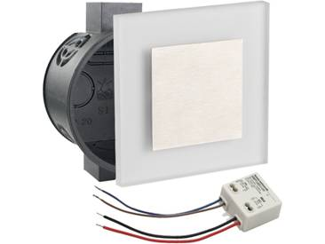 LED Set Wandeinbaustrahler kaltweiß flach Satinglas quadratisch inkl. Unterputzdose und Trafo für 230V WB2