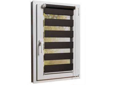 Fensterrollo Duorollo mit Sichtschutz und Sonnenschutz inkl. Klemmfixfunktion und Montagematerial Braun 65 x 160