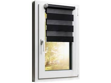 Balkontürrollo Duorollo mit Sichtschutz und Sonnenschutz inkl. Klemmfixfunktion und Montagemateria Schwarz 90 x 220