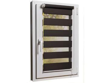 Fensterrollo Duorollo mit Sichtschutz und Sonnenschutz inkl. Klemmfixfunktion und Montagematerial Braun 50 x 160