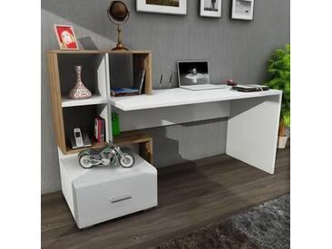 Schreibtisch Weiß - Walnuss Bloom