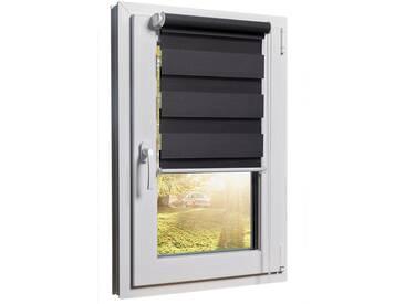 Balkontürrollo Duorollo mit Sichtschutz und Sonnenschutz inkl. Klemmfixfunktion und Montagemateria Grau 80 x 220