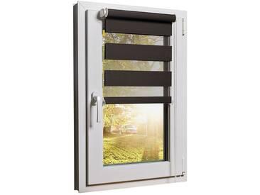 Balkontürrollo Duorollo mit Sichtschutz und Sonnenschutz inkl. Klemmfixfunktion und Montagemateria Braun 100 x 220