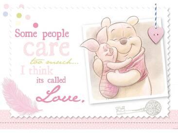 Fototapete no. 406   Disney Tapete Winnie Puuh Ferkel Kindertapete Cartoon Freunde Liebe rosa