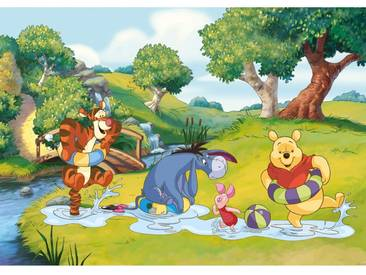 Fototapete no. 1119   Disney Tapete Winnie Puuh Kindertapete Cartoon Wasser Bubble Enten blau
