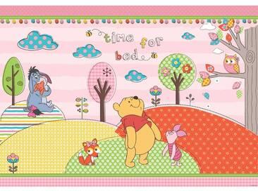 Fototapete no. 1121   Disney Tapete Winnie Puuh Kindertapete Cartoon Bär Fuchs Eule Baum rosa