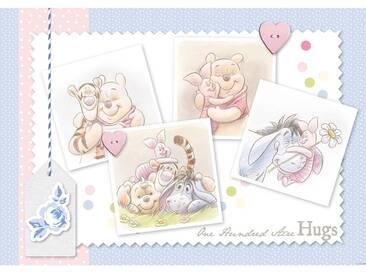 Fototapete no. 2343   Disney Tapete Winnie Puuh Kindertapete Cartoon Winnie Pooh Ferkel Tigger Herzen Liebe blau
