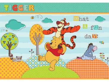 Fototapete no. 1122   Disney Tapete Winnie Puuh Kindertapete Cartoon Tiger Eule Baum blau