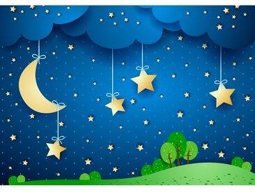 Fototapete Dreaming Night | Kindertapete Tapete Sternenhimmel Stars Sterne Leuchtsterne Nachthimmel Mond blau