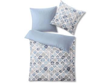 Kleine Wolke Bettwäsche Mesh 135 x 200 cm, Blau Satin