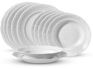 CreaTable Tafelservice Frederike 12tlg., Weiß Porzellan