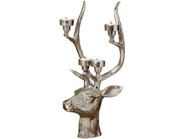BOLTZE Teelichthalter Hirsch, Silber Aluminium 49 cm