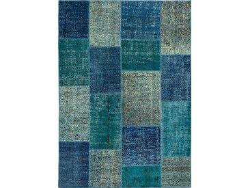 Vintage Teppich Patchwork 200 x 300 cm /Blau, Mischgewebe