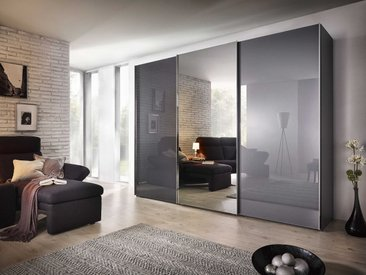 Nolte Möbel Schwebetürenschrank Evena, 270 x 223 cm, grau Glas