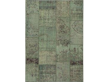 Vintage Teppich Patchwork 170 x 240 cm /Hellgrün, Mischgewebe