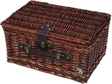 Cilio Picknickkorb Bellano, braun Holz, Textil, Natur