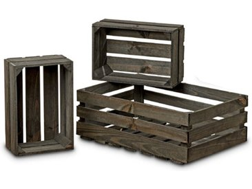 BOLTZE Deko-Kiste Porto 3tlg. /Grau, Holz