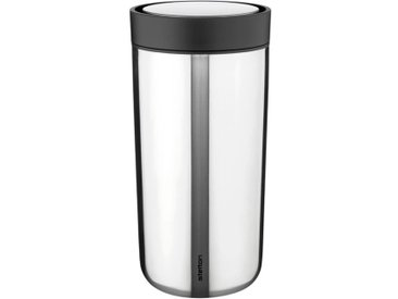 Stelton Isolierbecher To Go Click 400 ml /Silber, 17 cm Edelstahl