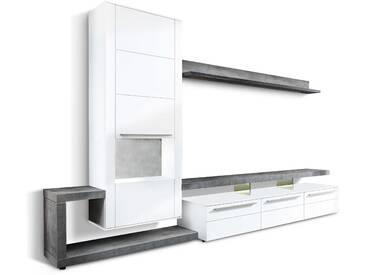Gwinner Wohnwand Bellano 3tlg., Weiß Holz