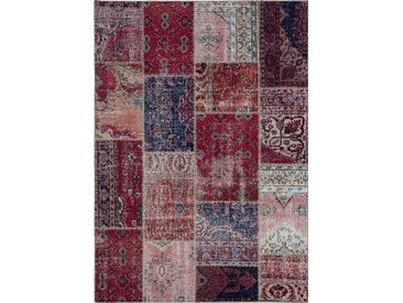 Vintage Teppich Patchwork 140 x 200 cm /Rot, Mischgewebe