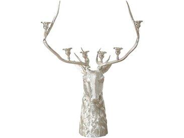 BOLTZE Kerzenleuchter Hirsch, silber Aluminium