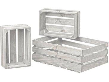 BOLTZE Deko-Kiste Porto 3tlg. /Weiß, Holz