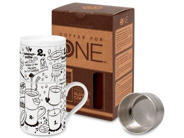 Kaffeebecher Experten Tipp /Schwarz / Weiß, Porzellan