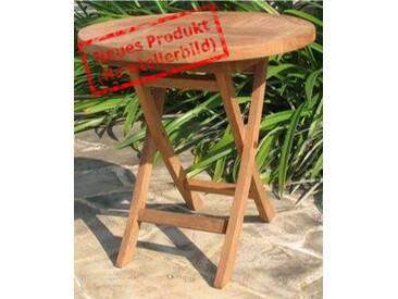 MiaMöbel Teak Beistelltisch/Klapptisch 50cm   Rund Modern Massivholz Teak