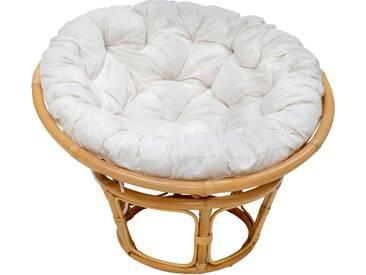 MiaMöbel Sessel Papasan honig, Ø 100 cm Modern 100% Baumwolle, Rattan