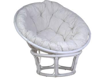 MiaMöbel Sessel Papasan weiß, Ø 100 cm Modern 100% Baumwolle, Rattan