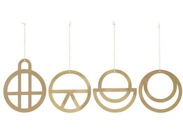 House Doctor Ornament Dreams Baumschmuck gold Set 4 Stück 12 cm